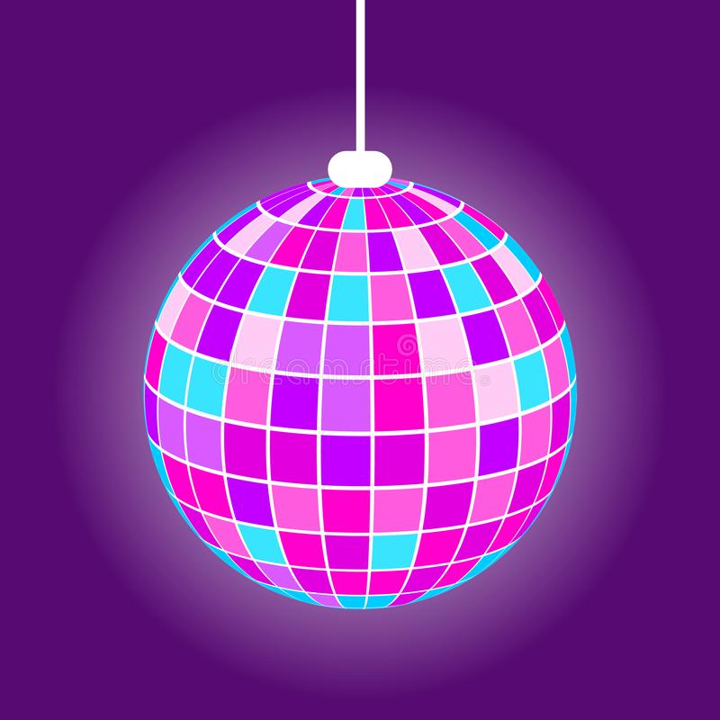 Night Club Disco Ball, Vector Purple Mirrorball stock de ilustración
