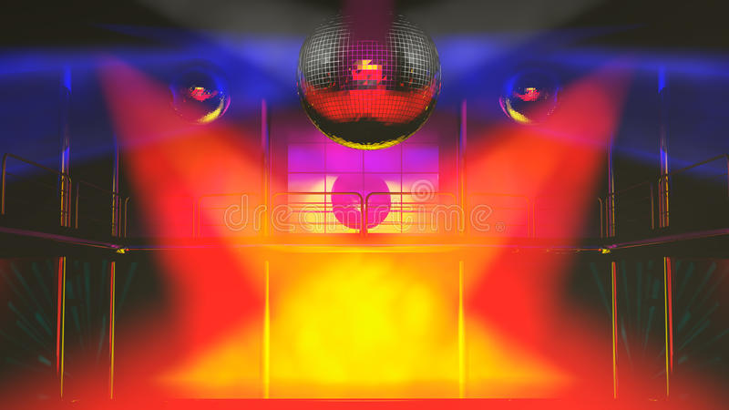Night club discotheque colorful lights royalty free illustration