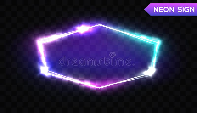 Night Club Hexagonal Neon Sign. 3d Light Signboard. Night Club Hexagonal Neon Sign. 3d Retro Light Signboard With Shining Effect. Techno Frame With Glowing On vector illustration