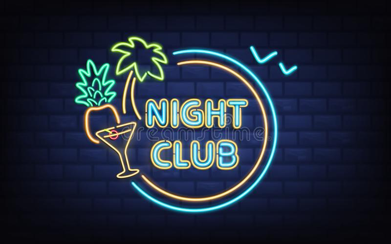 Night club neon light signboard realistic vector. Resort night club, beach cocktail bar retro signboard with palm tree, coconut, cocktail glass glowing blue vector illustration
