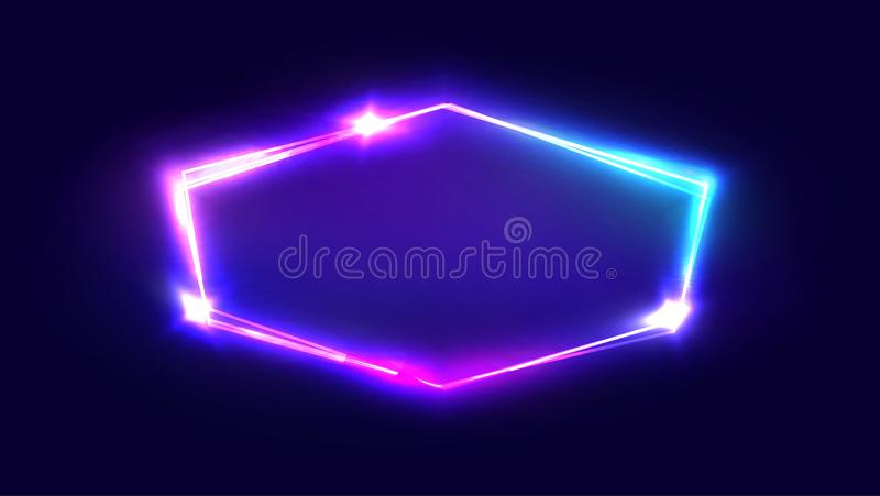 Night Club Neon Sign. Blank Retro Light Signboard. Night Club Neon Sign. Blank 3d Retro Light Signboard With Shining Neon Effect. Techno Frame With Glowing On vector illustration