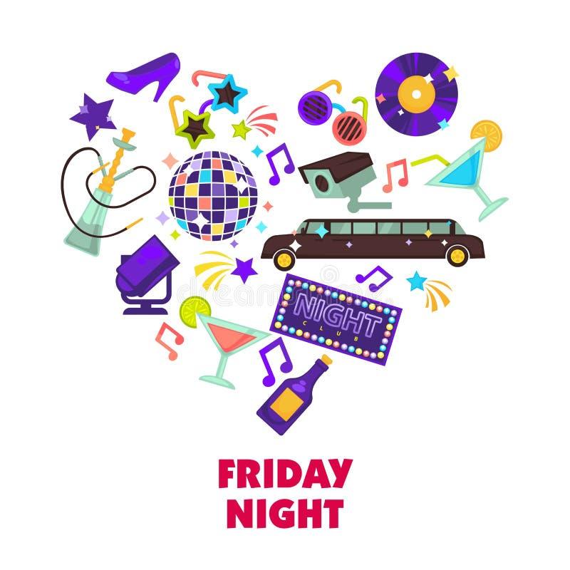 Night-club o manifesto del cuore di vettore del partito di discoteca illustrazione vettoriale