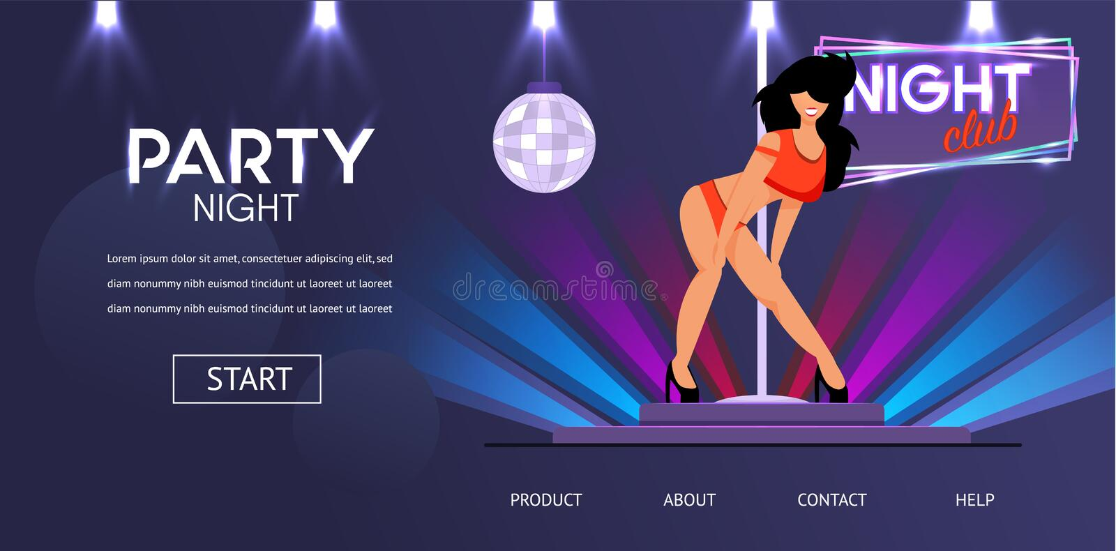 Night Club Party with Girl Dancer in Underwear vector illustration