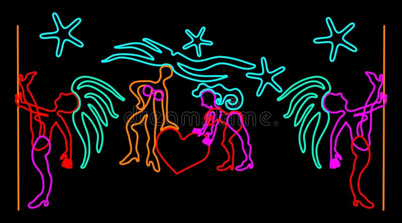 Night club signboard design. With neon stylized dancer figures vector illustration