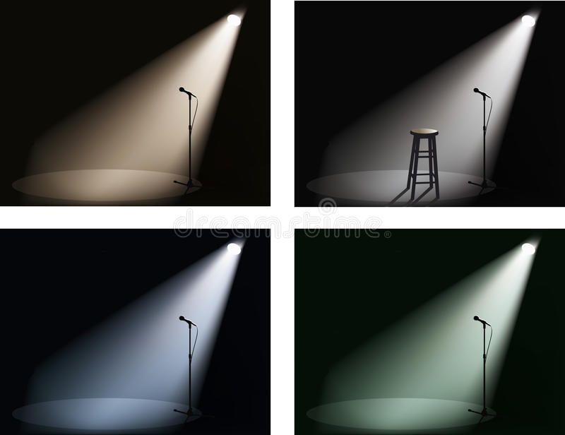 Night club with spotlight and microphone stock illustration