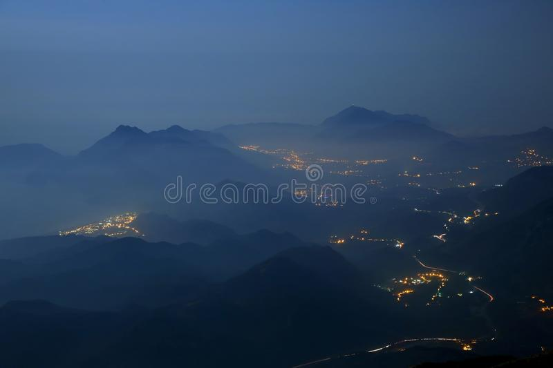 Night coast of mountainous area in Turkey. The night coast of mountainous area in Turkey royalty free stock images