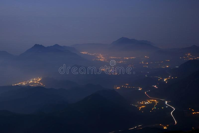 Night coast of mountainous area in Turkey. The night coast of mountainous area in Turkey stock image