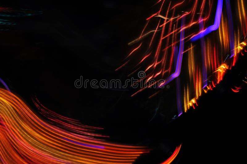 Disco lights synth wave vapor neon funfair fairground ride, Night colors of the amusement park lo-fi stock image