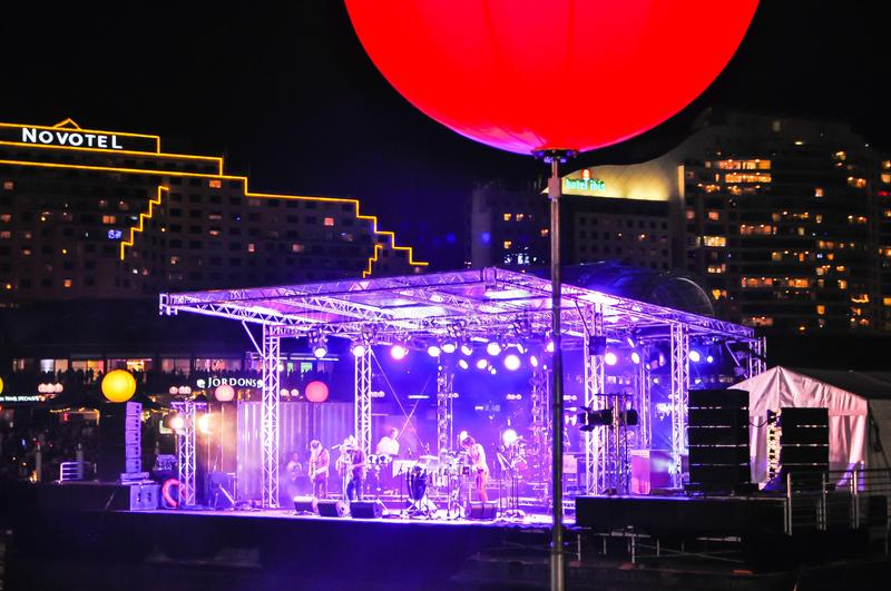 Night Concert on floating stage at Cockle bay, Darling harbour on New Year eve 2010. royalty free stock image