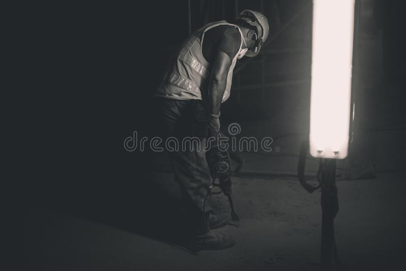 Night construction worker stock photography
