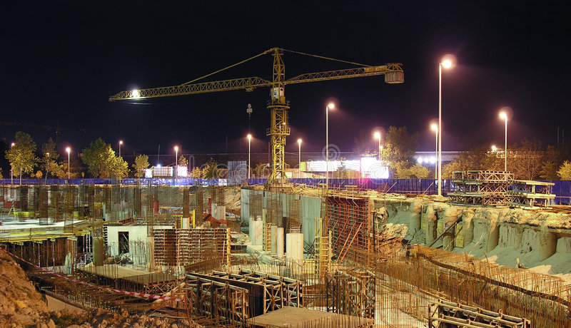 Night construction works stock photos