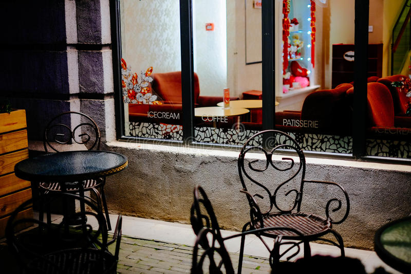 Night corner of the restaurant. There is no seat in the corner of the commercial street stock photo