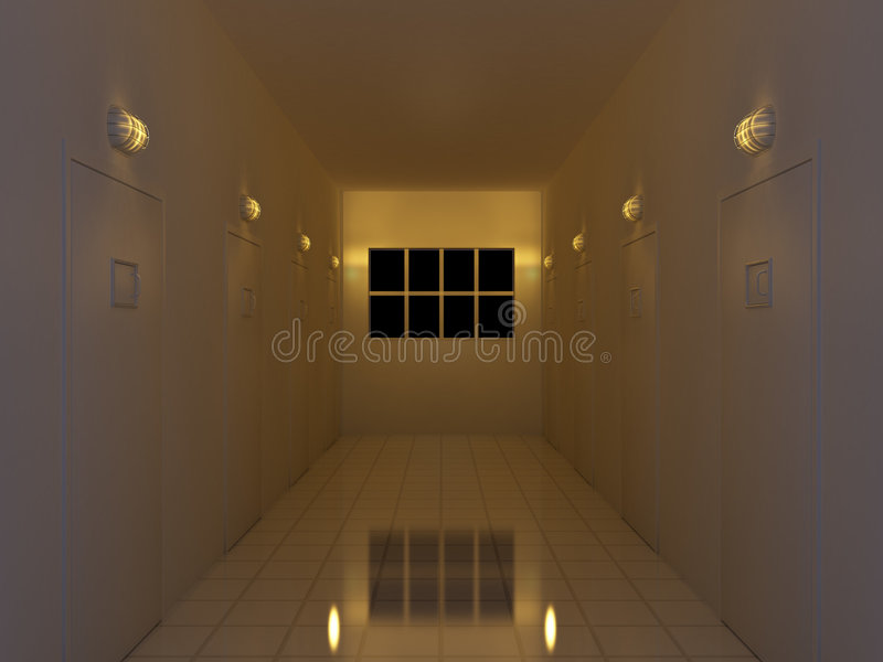 Download Night Corridor stock illustration. Illustration of light - 3057088