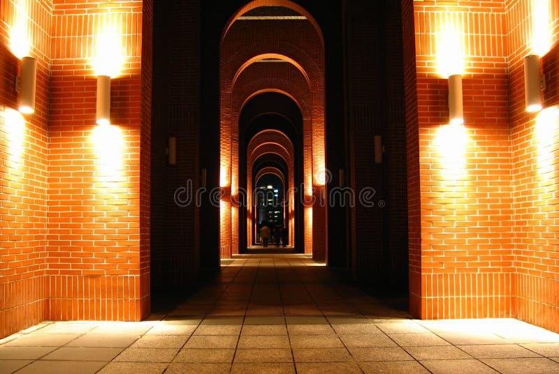 Night corridor. Slient corridor at night, with warm light royalty free stock photos