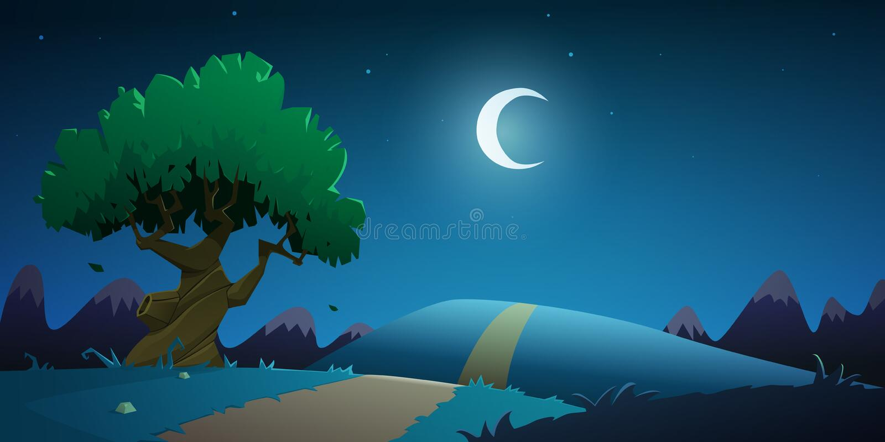 Night Countryside Cartoon Landscape stock illustration