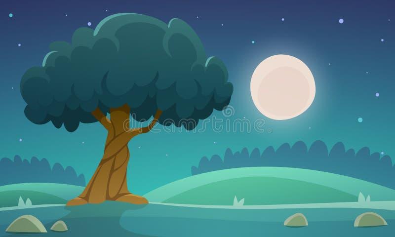 Night Countryside Landscape vector illustration