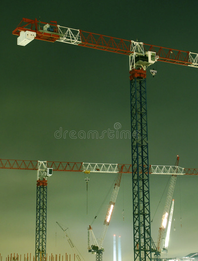 Download Night Cranes stock photo. Image of cranes, crane, housing - 118288