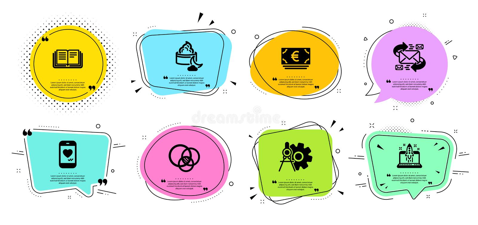 Night cream, Love chat and Euro currency icons set. Euler diagram, E-mail and Education signs. Vector. Night cream, Love chat and Euro currency line icons set vector illustration