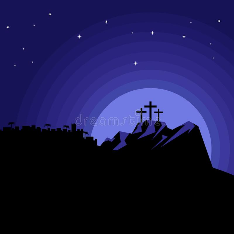 The night after the crucifixion of Jesus Christ at Calvary. Easter illustration.  royalty free illustration