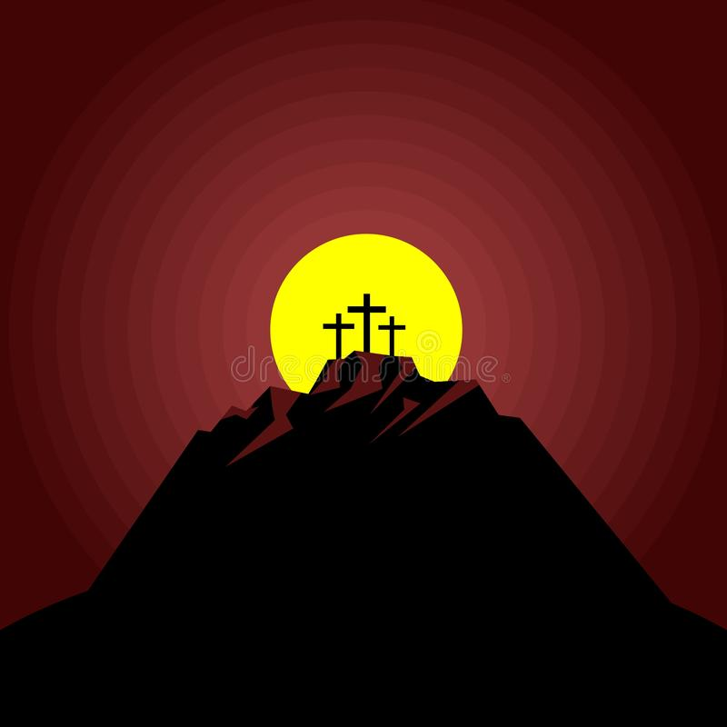 The night after the crucifixion of Jesus Christ at Calvary. Easter illustration.  stock illustration
