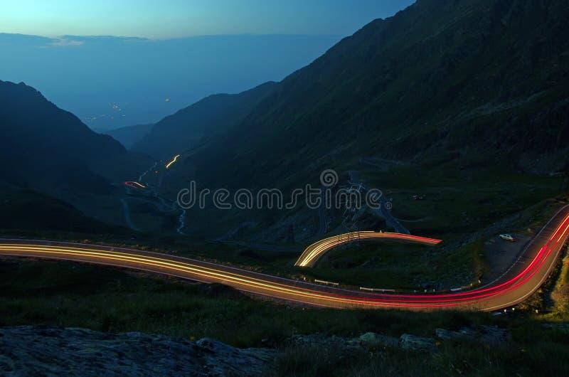 Night curvy road stock image