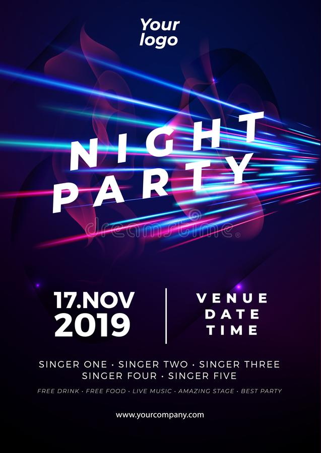 Poster Night party template background glow light patterns. vector. Night dance disco party music night poster template royalty free illustration