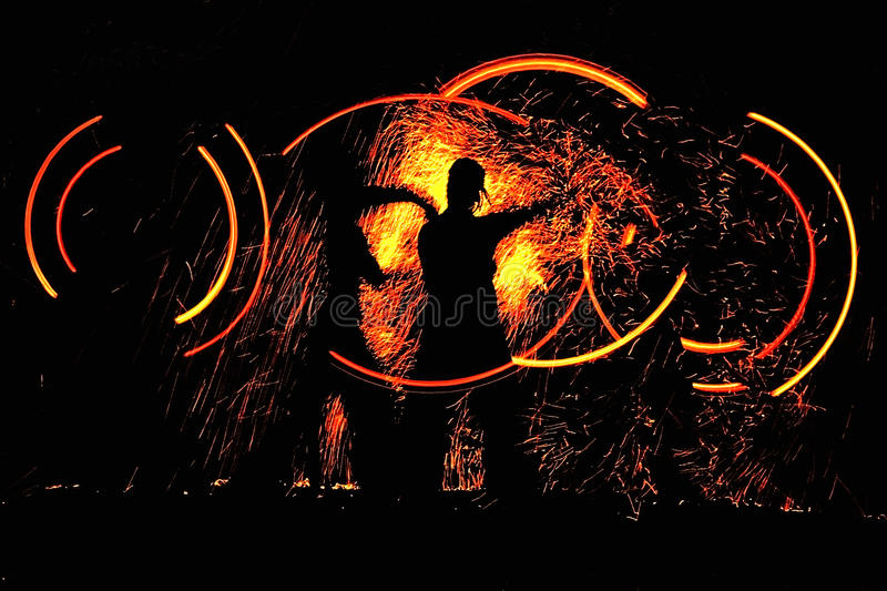 Night dance with fire. Night show dance with fire stock images