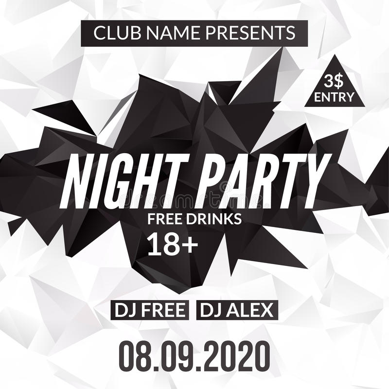 Night Dance Party design template in polygonal style. Club dance party event. DJ music poster promotional stock illustration
