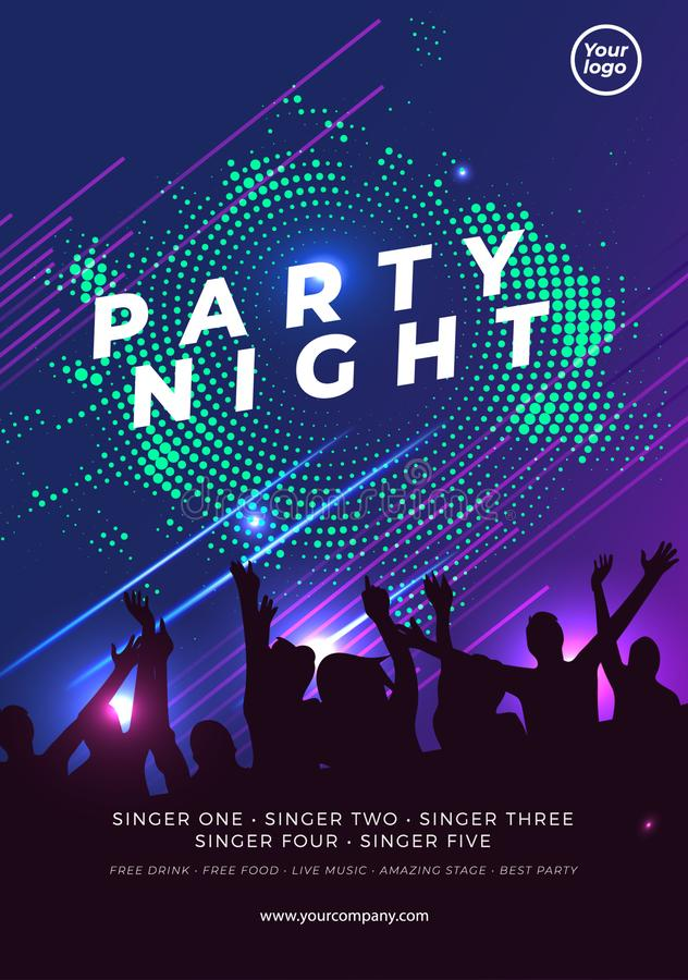 Night dance party music club poster template. Party event flyer invitation. Night dance disco party music night poster template vector illustration