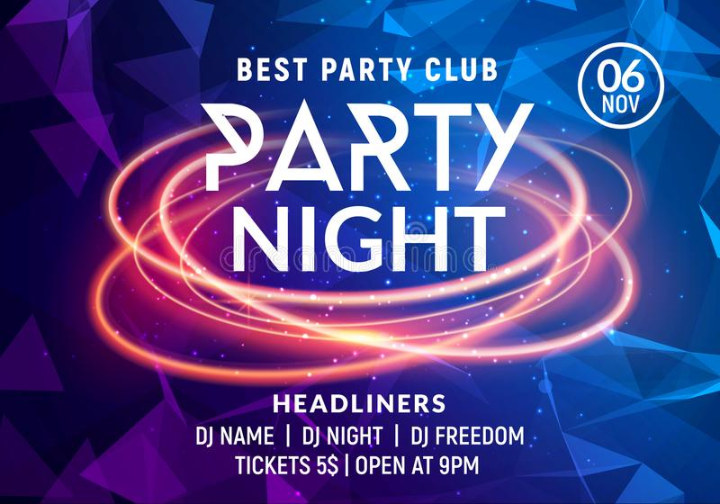 Night dance party music night poster template. Electro style concert disco club party event flyer invitation stock image