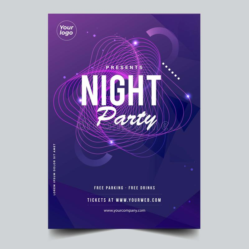 Night dance party music night poster template. Party event flyer invitation. stock illustration