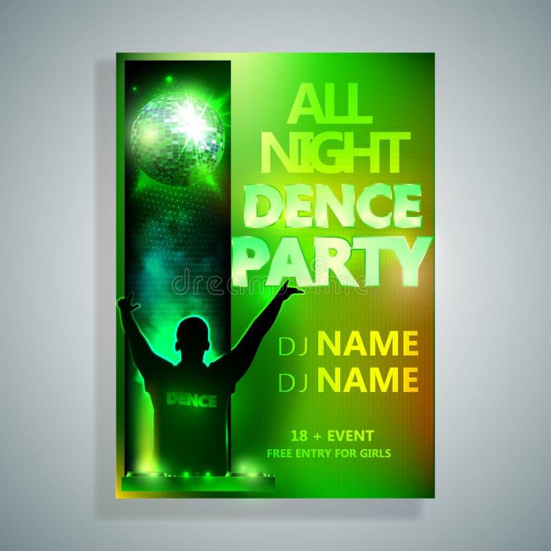 Night Dance Party Poster Background Template. Festival Vector mockup. DJ poster design. DJ background. Vector illustration vector illustration
