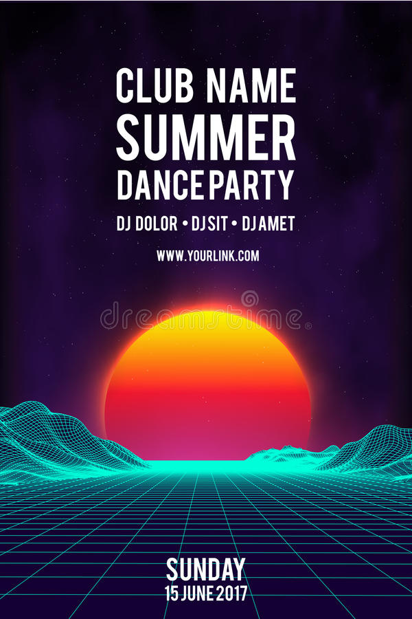 Night dance party poster vector background. 80s retro style Music event flyer. 80s retro background royalty free illustration