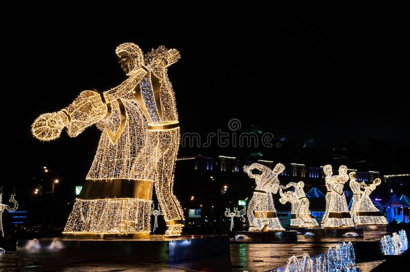 Night dancers on the Festival Trip to Christmas royalty free stock photos