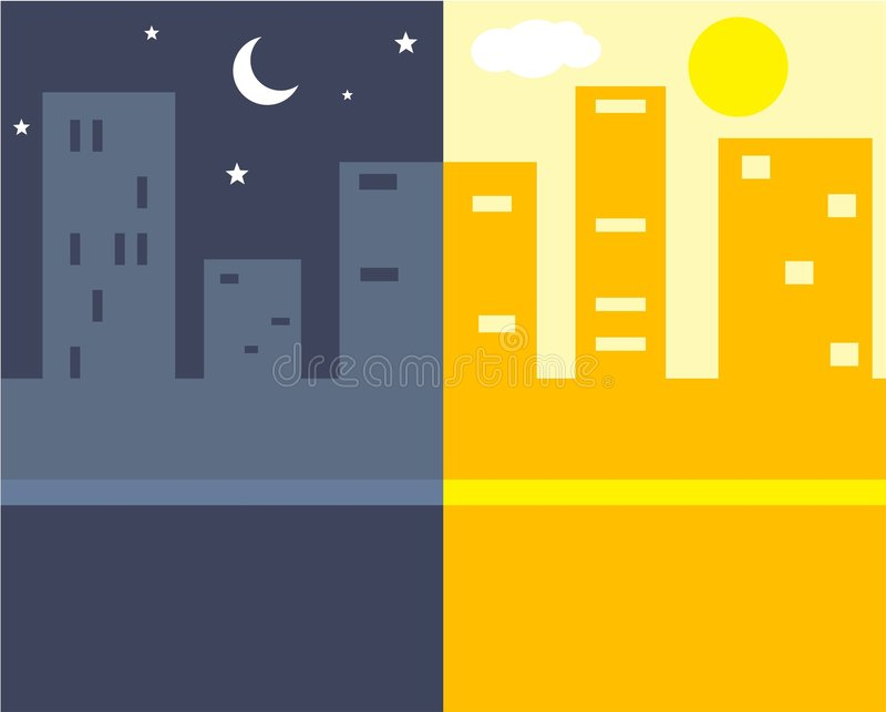 Night and Day. A view of night and day in the big city
