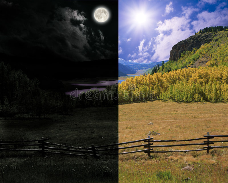 Summer Rolling Vertical Day And Night Landscapes Stock