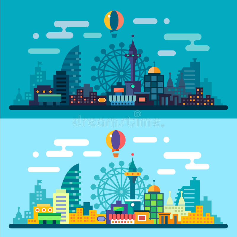 Night and day city landscape vector illustration