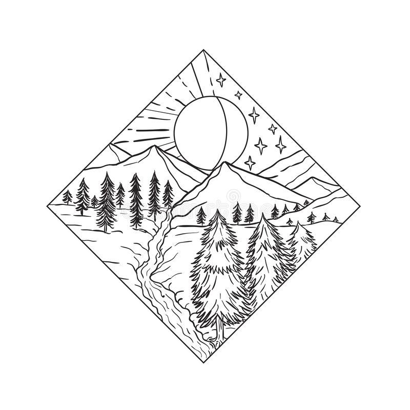 Night Day Sun and Moon Monoline. Mono line illustration of Night and Day Sun and Moon stars with mountain river and trees set inside diamond shape on isolated royalty free illustration