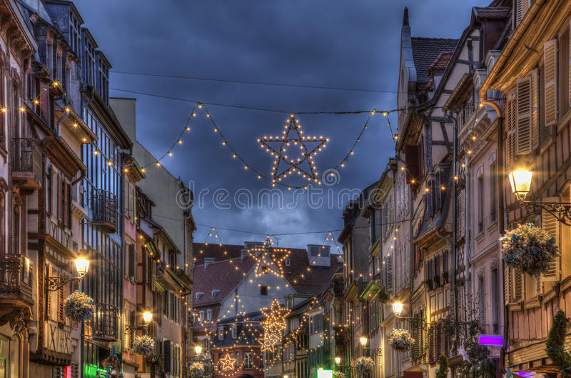 Night Decorated Street in Winter in Colmar stock photo