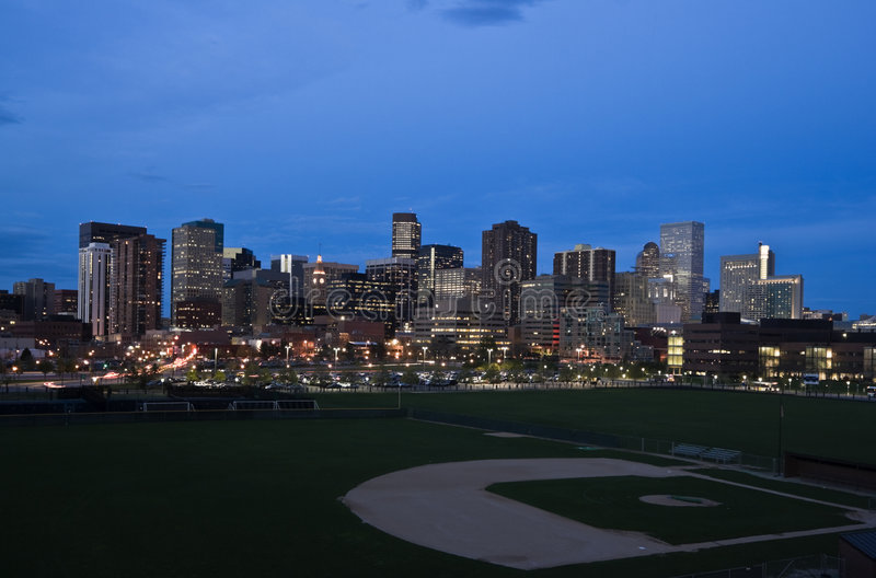 Download Night in Denver stock image. Image of sunset, scene, downtown - 8893325