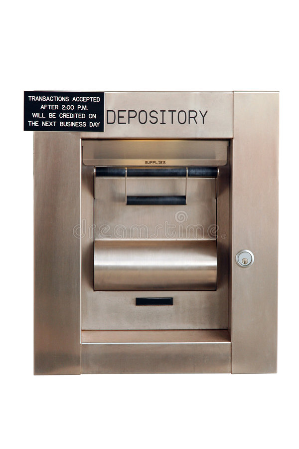 Night deposit box at a bank - Isolated stock photography