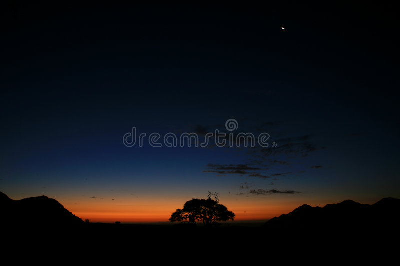 Night in the desert stock photography