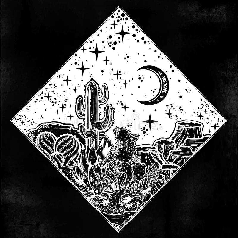 Night desert of America with cacti and skull. Outdoors, travel freedom of nature. Prairie landscape. Night desert of America with cacti and animal skull. Great stock illustration