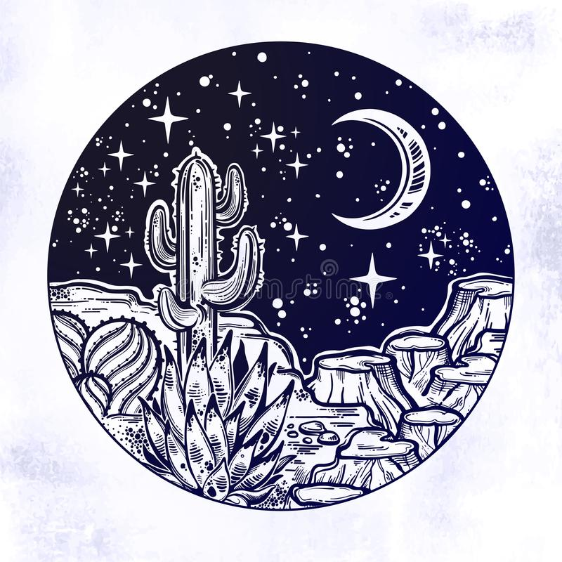 Night desert of America with cacti. Outdoors, travel freedom of nature. Prairie landscape. Night desert of America with cacti. Great outdoors, travel freedom stock illustration
