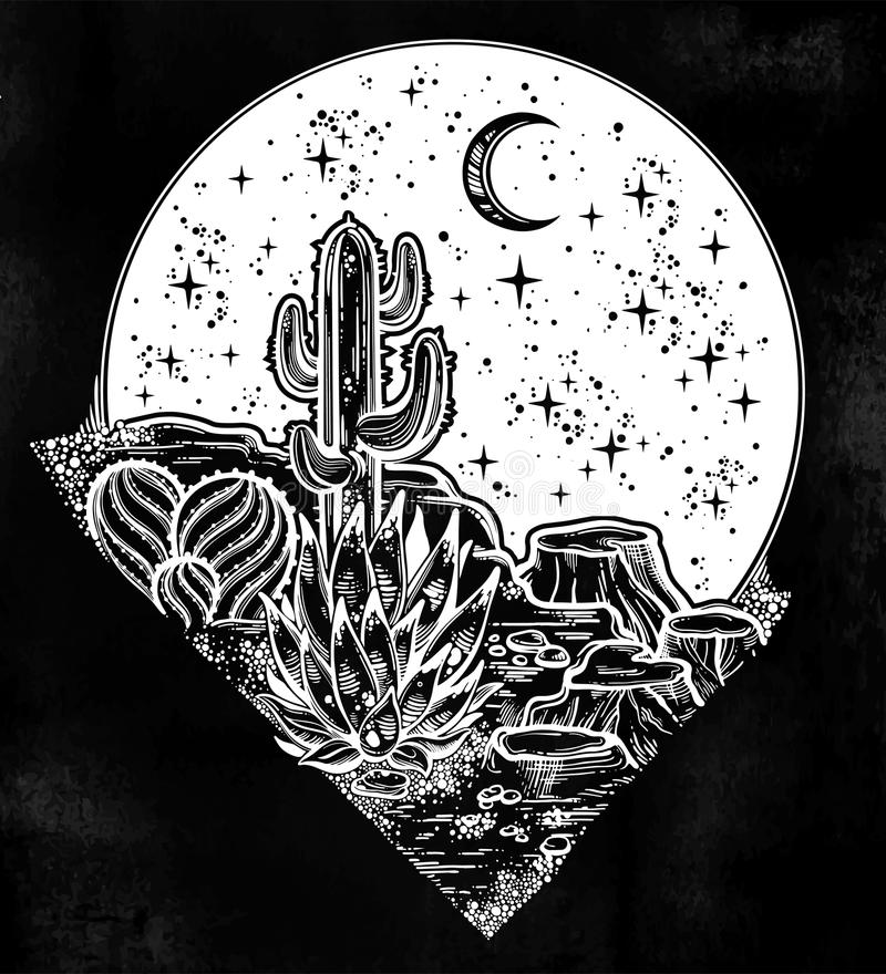 Night desert of America with cacti. Outdoors, travel freedom of nature. Prairie landscape. Night desert of America with cacti. Great outdoors, travel freedom vector illustration