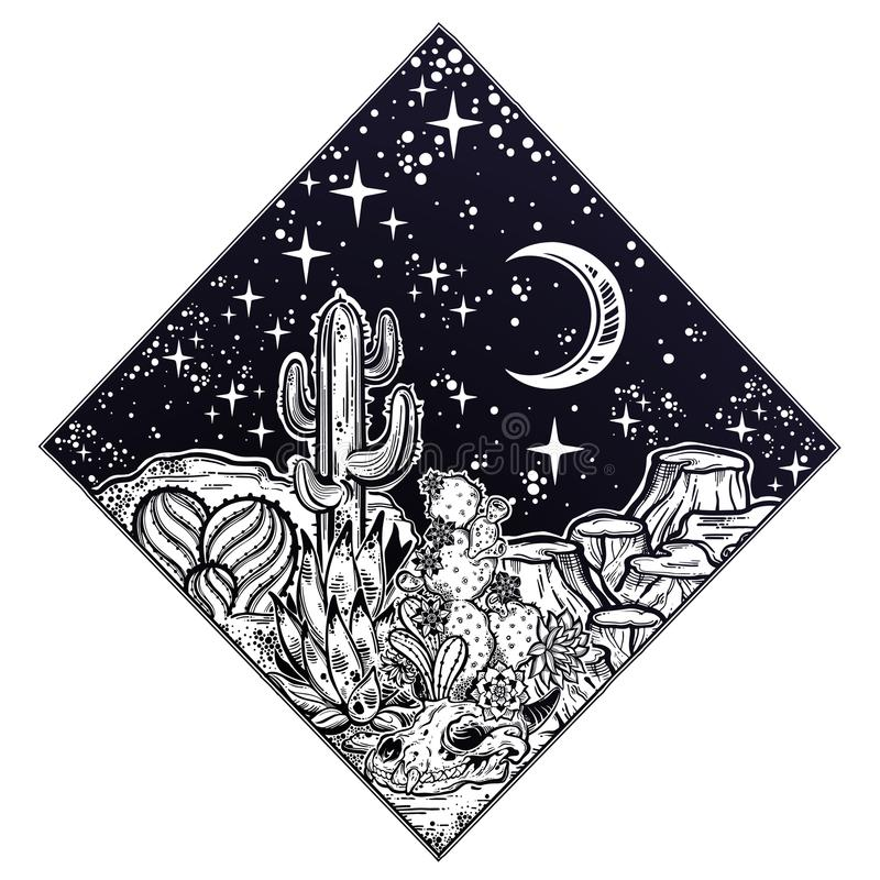 Night desert of America with cacti and skull. Outdoors, travel freedom of nature. Prairie landscape. Night desert of America with cacti and animal skull. Great royalty free illustration