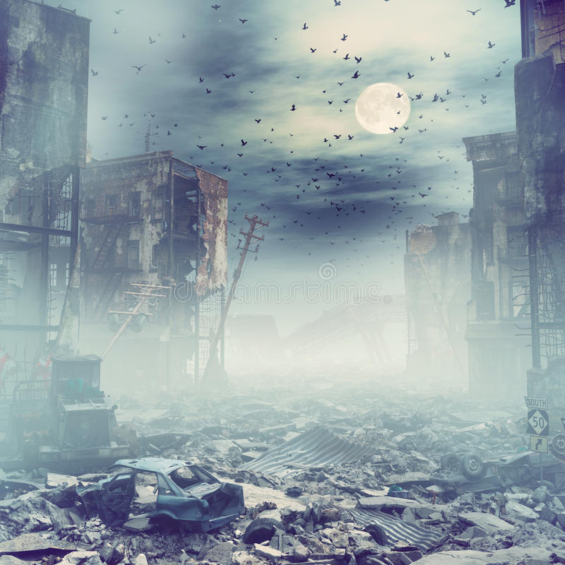 Night destroyed city. Ruins of a city at the night. 3d illustration concept stock illustration