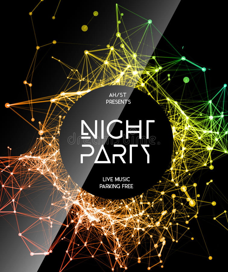 Night Disco Party Poster Background stock illustration
