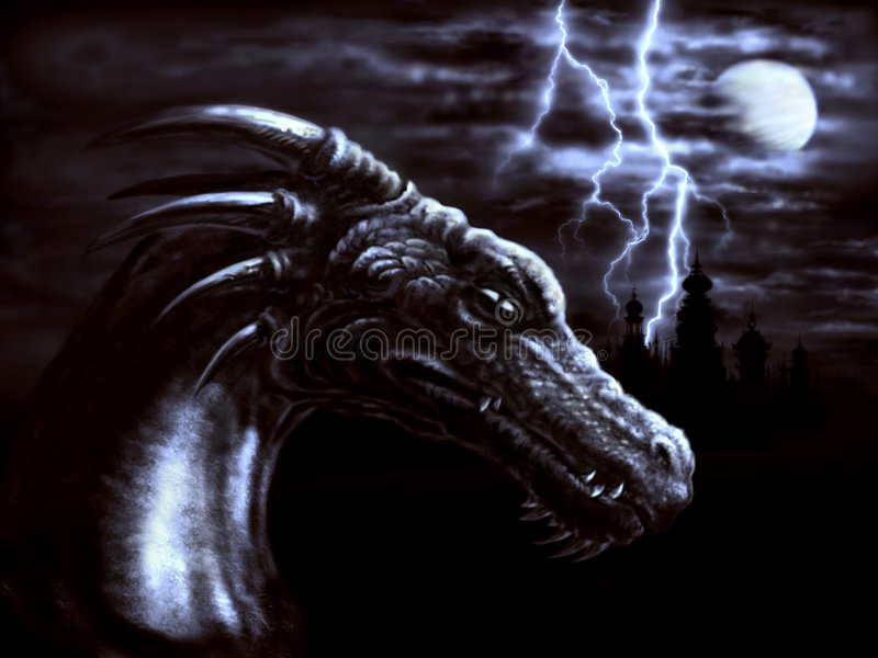 Download Night dragon stock illustration. Image of ancient, head - 4775020