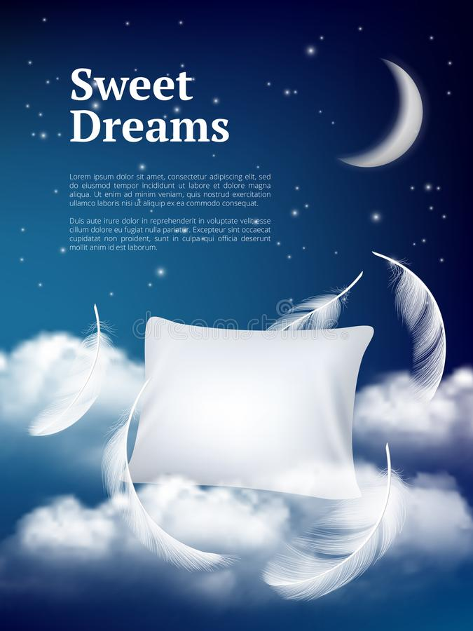 Night dream pillow. Advertizing poster with pillows clouds and feathers comfortable space vector realistic concept. Illustration of night sleep, pillow with vector illustration